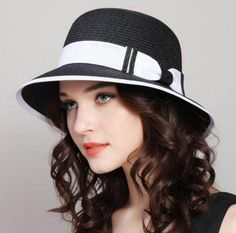 376095ebb57 Beach bow bucket hat with color block design straw sun hats for ladies