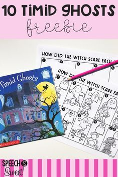 Freebie for Ten Timid Ghosts! This is a wonderful Halloween read aloud for speech-language therapy! It's perfect for addressing story retelling, sequencing, past tense, adjectives, and more! #speechtherapy #languagetherapy #readalouds