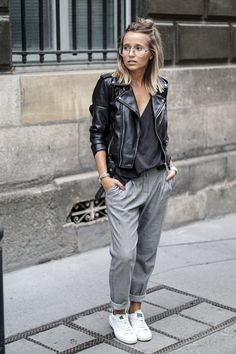 Lazy Day Outfits or How To Look Stylish with Comfy Clothing Combination comfortable grey pants with black moto jacket simple casual comfy outfit Lazy Day Outfits, Mode Outfits, Casual Outfits, Fashion Outfits, Sneakers Fashion, Summer Outfits, Fashion Trends, Winter Outfits, Sneakers Style
