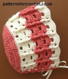 Free baby crochet pattern for bonnet http://patternsforcrochet.co.uk/baby-bonnet-usa.html #patternsforcrochet
