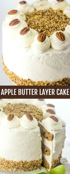 Apple Butter Layer Cake {The Perfect Layer Cake for Fall} apple/cinnamon/layer cake Layers and layers of deliciousness this Apple Butter Layer Cake is THE cake you want to make this fall. Spiked with apple and frosted with a cinnamon cream cheese icing, it is the absolute way to get your fall bake on! via @thebestcakerecipes