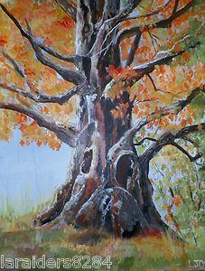 ORIGINAL AUTUMN FALL TREE OF LIFE IMPRESSIONISTIC  REALIST LANDSCAPE   PAINTING