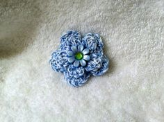 Blue Flower Hairclip Handmade Crochet 1 for by HaldaneCreations, $2.00