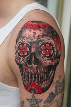 Mexican skull tattoo by graynd