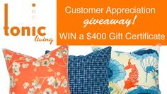 Pin to Win Giveaway! Celebrating 4,000 Likes on our Facebook page! #toniclivingdreamroom #homedecor