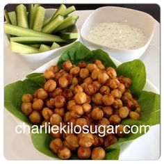 Roasted Chickpeas with cucumber sticks and mint yoghurt dip