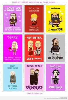 Game of Thrones Valentines. The Hodor one is the best!!!