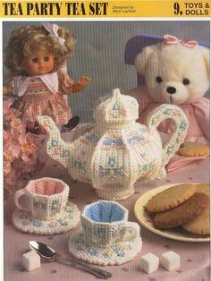 Tea Party Tea Set Plastic Canvas Pattern by needlecraftsupershop, $3.50