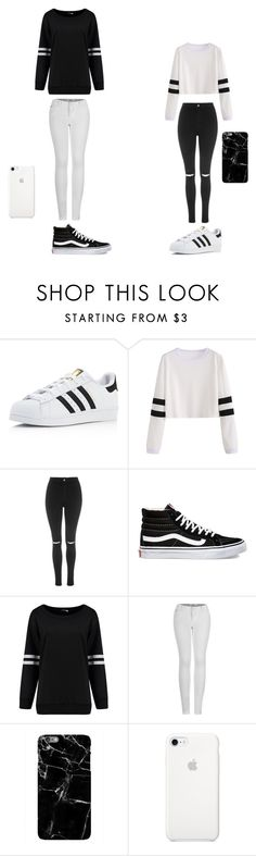"""black/ white"" by maliyah-waldron on Polyvore featuring adidas, Topshop, Vans and 2LUV"