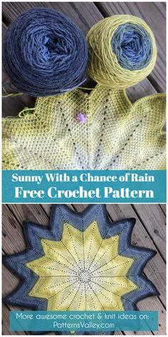 Sunny With a Chance of Rain Free Crochet Pattern #ripplepattern #crochetblanket #yarns #freecrochetpatterns #crochetlove