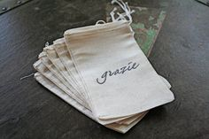 """Wedding favor bags, muslin, 3x5. Set of 50. Italian """"Grazie"""" in black on natural white cotton."""