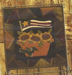 Primitive Folk Art Wool Applique Table Mat Pattern:  JULY - Wool Crazy Mat - - - BASE MAT pattern is sold separate----50 percent off.. $6.00, via Etsy.