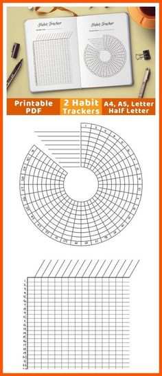 2 bullet journal habit trackers- one circle habit tracker + one vertical habit tracker. Use these bujo printables to help yourself build new good habits, or stop bad ones. Bullet Journal Inserts, Bullet Journal Printables, Filofax, Planner Organization, Organizing, Planner Inserts, Journal Inspiration, Getting Organized, How To Draw Hands
