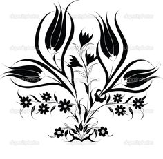 YAY Images - traditional Ottoman design with a pattern of black by antsvgdal Quilling Patterns, Stencil Patterns, Tile Patterns, Flower Patterns, Chinese Patterns, Ethnic Patterns, Stencils, Ottoman Design, Rage