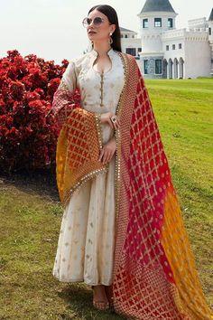 Buy Beige Rubber Printed Cotton Silk Designer Salwar Kameez Online in 2020 Party Wear Indian Dresses, Indian Fashion Dresses, Indian Gowns Dresses, Dress Indian Style, Indian Wedding Outfits, Indian Outfits, Indian Fashion Salwar, Salwar Suits Party Wear, Indian Fashion Trends