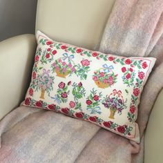 Upcycled vintage linen pillow cover, hand embroidered floral cushion cover, by KindredClassics on Etsy Floral Cushions, Vintage Cushions, Vintage Linen, Upcycled Vintage, Linen Pillows, Decorative Pillows, Vintage Cross Stitches, Shades Of Red, Old Pictures