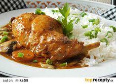 Králík pečený na zelenině a pivu recept Poultry, Pork, Food And Drink, Turkey, Meat, Chicken, Cooking, Kale Stir Fry, Kitchen