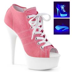 Pink High Heel Peep Toe Sneaker at Gothic Plus, Gothic Clothing, Jewelry, Goth Shoes, Boots & Home Decor White Platform Sneakers, High Heel Sneakers, Pink Sneakers, Platform Ankle Boots, Sneaker Heels, Platform High Heels, Black Ankle Boots, Sneakers Fashion, Heeled Boots