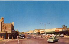 Corner of MacDonald and Main looking west. Mesa Arizona post card