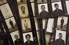 Khmer Rouge History: Documenting the Aftermath. Contact sheets showing pictures of what is believed to be former prisoners of the S-21 prison, also known as Tuol Sleng, where over 15,000 people lost their lives. Kaing Guek Eav, better known as Duch, was detained for his role as chief of the torture center in 1999.