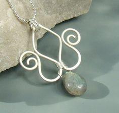 Labradorite gemstone pendant with hungarian tulip by VeraNasfa, $21.00