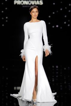 Long Sleeve Wedding Dress with Thigh Split from Pronovias
