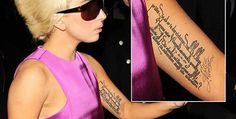 Lady Gaga German Rilke tattoo  http://www.popstartats.com/lady-gaga-tattoos/lg-arm/rilke/