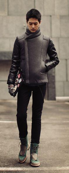 Biker Style Jacket (Leather Sleeve) + Clutch + Skinny pant + Sneaker  korean mens fashion