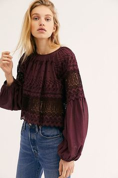 Perfect Duet Blouse - Plum Long Sleeve Lace Blouse with Tie Back - Deep Purple Lace Top - Long Sleeve Purple Lace Tops - Open Back Long Sleeve Tops Long Skirt Outfits, Fancy Tops, Purple Lace, Deep Purple, Boho Tops, Blouses For Women, Ladies Blouses, Bohemian Style, Boho Chic