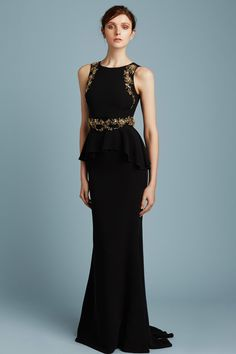 Reem Acra Pre-Fall 2017: Classy and elegant! I adore the peplum detail and the gold brocade.