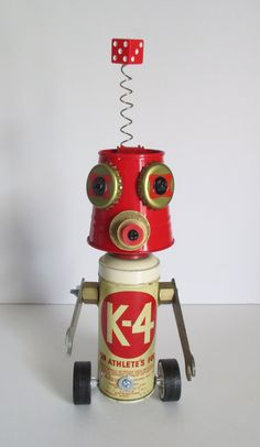 CIRCLE K Found object robot sculptureassemblage by YNOTart on Etsy