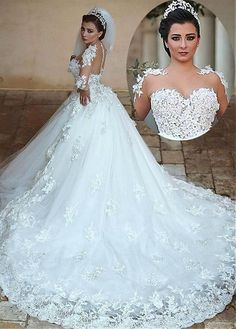 Buy discount Exquisite Tulle Jewel Neckline Ball Gown Wedding Dresses With Lace Appliques at Magbridal.com