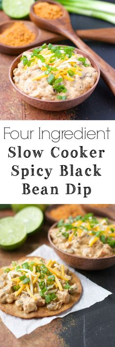 Slow Cooker Spicy Black Bean Dip, this stuff is so addictive! Only FOUR ingredients and gluten free!