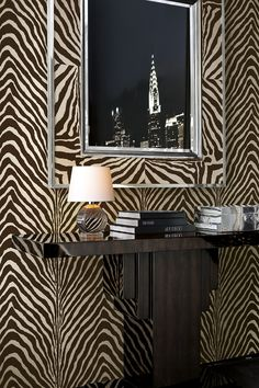 Animal-print wallcovering from Ralph Lauren Home's Penthouse Suite collection.                                                                                                                                                                                 More