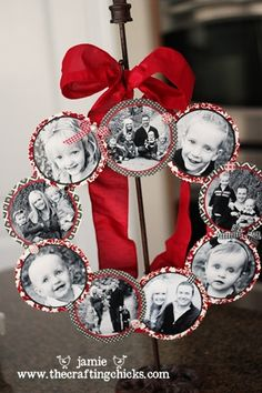 Christmas Wreaths Family photo wreath -- cute holiday idea that will become cuter as kids grow up.Family photo wreath -- cute holiday idea that will become cuter as kids grow up. Noel Christmas, Simple Christmas, Winter Christmas, Christmas Ornaments, Beautiful Christmas, Family Christmas, Family Ornament, Ornaments Ideas, Christmas Cactus