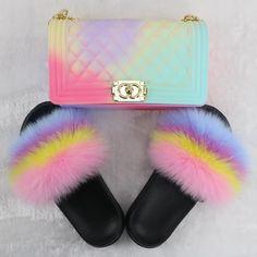 Fluffy Shoes, Pop Shoes, Fur Sliders, Green Fur, Jelly Bag, Pastel Goth Fashion, Fur Bag, Pink Yellow, Purses And Handbags