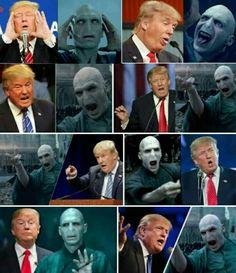 Is Donald trump, Lord Voldemort? Magia Harry Potter, Mundo Harry Potter, Harry Potter Cast, Harry Potter Universal, Harry Potter Funny Pictures, Harry Potter Tumblr, Harry Potter Pictures, Harry Potter Quotes, Harry Potter Mems