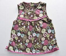 Tee-shirt sans manche jersey marron imprimé fleurs multicolores 18 mois filles