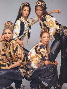 Naomi Campbell, Stephanie Seymour, Christy Turlington & Yasmeen Ghauri for Atelier Versace, F/W 92-93