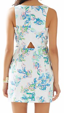 Lilly Pulitzer Cecily Cut-In Shift Dress in Resort White Coastal Kiss