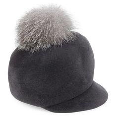 41d1c7f4e04 Lola Hats Circa Fur Pom   Velour Felt Cap featuring polyvore