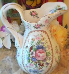 Vintage Shabby Cottage Floral Water Pitcher...BEAUTIFUL
