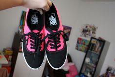 Neon pink and black Vans ♡