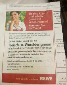 Stellenanzeige Fleisch- und Wurstdesignerin: Das Sprungbrett für junge Gestalter(innen) bei Rewe!