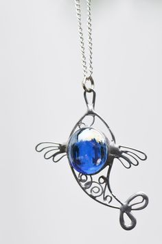 Stained glass pendant blue fish pendant stained by OrioleStudio, £20.00