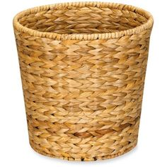 Household Essentials Natural Banana Leaf Wicker Trash Can Natural (220 SEK) ❤ liked on Polyvore featuring home, home decor, small item storage, natural and wicker trash can