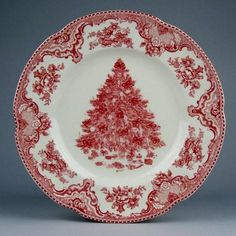 "Johnson Bros. Old Britain Castles Pink Xmas Pt Dinner Plates by Johnson Bros.. $12.00. Dimensions: 10 1/2"" Dia. Brand New - First Quality. Dinner Plates - Pink Transfer Design With Pink Tree Center - Current Production With Green ""England 1883"" Backstamp - Made In China"