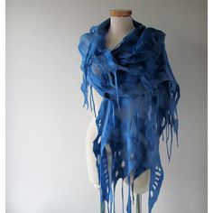 Silk Felted scarf Blue felt scarf Blue stole Blue nuno felted scarf... (315 ILS) ❤ liked on Polyvore featuring accessories, scarves, wool shawl, wool stole, silk scarves, silk stole and felt scarves