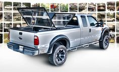 DiamondBack 270 truck bed cover with 3 panels open on silver Ford Super Duty Toyota Truck Accessories, Truck Interior Accessories, Best Truck Bed Covers, Truck Covers, Aluminum Truck Beds, Hard Tonneau Cover, Ford Ranger Truck, Tundra Truck, Expedition Truck