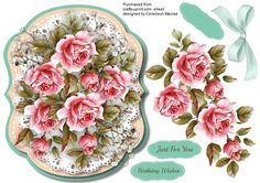 Beautiful Pink French roses on a Stitched Mat on Craftsuprint designed by Ceredwyn Macrae - A lovely card to make and give to anyone with Beautiful French Roses on a Stitched Mat a lovely card has two greeting tags and a blank one , - Now available for download!